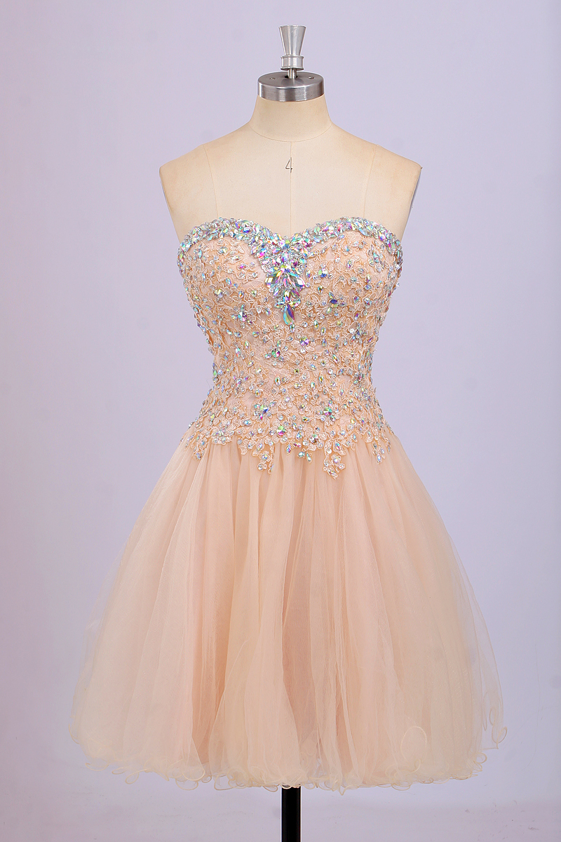 dcc8df0980 Short Beaded Strapless Prom Dress