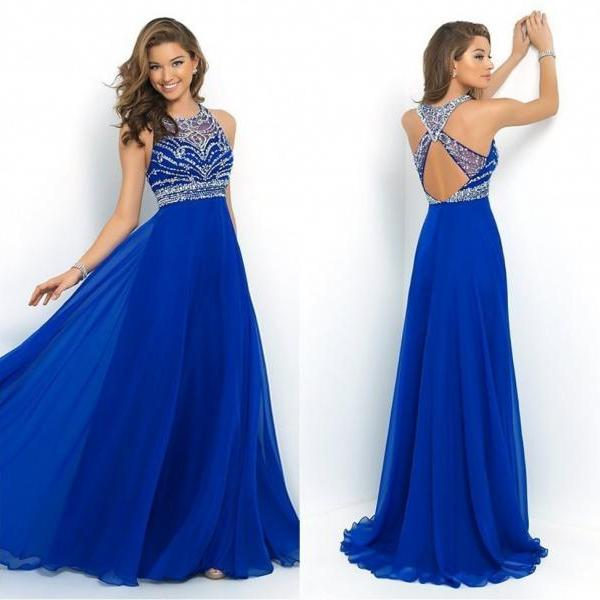 a83ca356db ... Royal Blue Chiffon A-Line Prom Dress 2015 Halter Bandage Backless  Sparkly Beading Long Prom ...