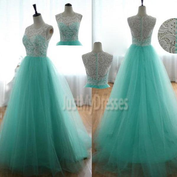 Turquoise Sweetheart Prom Dress Lace Prom Dress Long 2015,Tulle Prom Dresses, Blue Tulle Graduation Dress